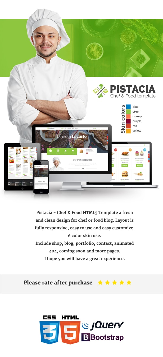 Pistacia chef food html5 template by pistaciatheme for Chef portfolio template